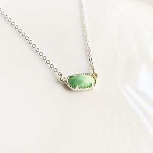NEW Small Oval Necklace (silver + mint)